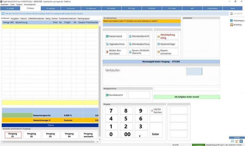 TopM-elius6-Screen-Modul-Kasse-Kassiervorgang-Einstieg